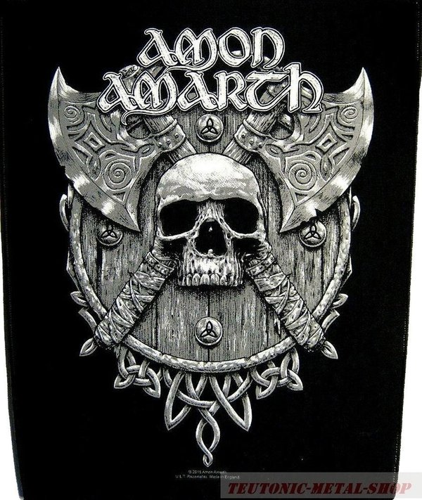 Amon Amarth Skull and Axes-Rückenaufnäher-Backpatch