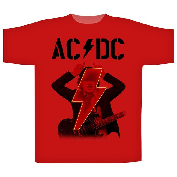 AC/DC Angus PWR UP Red T-Shirt NEU & OFFICIAL!